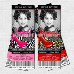 Personalized Bachelorette or Birthday Girl's Night Out - VIP PARTY TICKET INVITATIONS - Great for a 21st or 30th birthday!