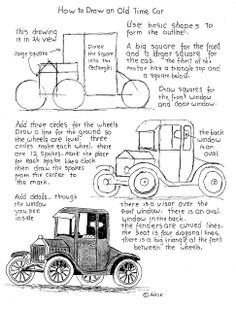 How to Draw Worksheets for Young Artist: How To Draw An old Time Car Worksheet You can print this from the blog and the project notes. http://drawinglessonsfortheyoungartist.blogspot.com/2013/07/how-to-draw-old-time-car-worksheet.html