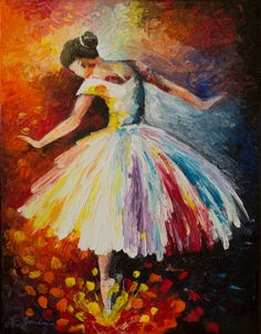 Colorful Abstract - Ballerina, Modern Impressionist Impasto Palette Knife Oil Painting, 11x14 stretched canvas
