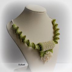 Green / Beige Pendant Necklace Statement Necklace Seed by Szikati