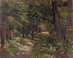 Footpath in Forest, oil on canvas by Ion Andreescu, Romanian, 1850-1882, realism landscape and impressionism of  Barbizon School artist. Brukenthal Museum, Sibiu, Transylvania, Romania.