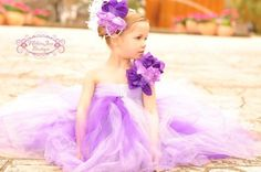 Lavish Deep Purple and Lavender Tutu Dress, made with over 200 yards of the softest tulle materail that is made in the USA., with pearl accent bodice on the fro