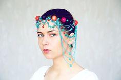 Mint head accessories colorful headpiece for by RasaVilJewelry