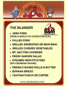 The Islander Menu Bbq Party Menu, Bbq Menu, Catering Menu, Catering Companies, Catering Ideas, Grilled Veggies, Grilled Pork, Planning Menu, Party Planning