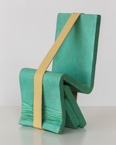 Ricky Swallow Chair Form with Band, 2014, patinated bronze and oil paint, 8.75 x 4 x 5 inches