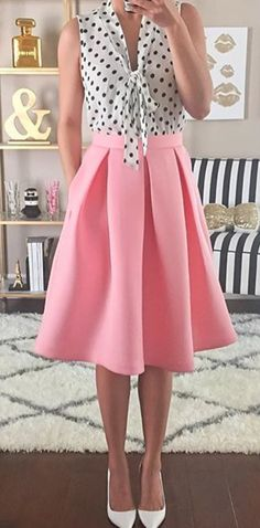Dots & pink swing skirt