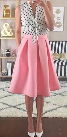 Dots + pink swing skirt //