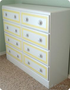 Young and Crafty Sisters: Dresser Redo {Tutorial}, Organization, & Craft Roo. Furniture Update, Refurbished Furniture, Recycled Furniture, Furniture Makeover, Painted Furniture, Diy Furniture, Furniture Design, Nailart, Kids Decor