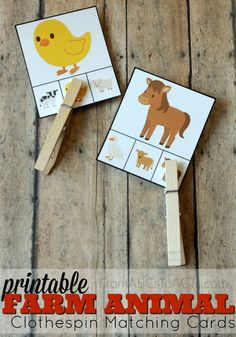 Matching Farm Animals Clip cards aren't just for counting practice anymore! These printable farm animal matching cards are a great way to work on fine motor skills while practicing same/different with your preschooler! Farm Animals Preschool, Farm Animal Crafts, Farm Crafts, Preschool At Home, Preschool Themes, Daycare Crafts, Kids Daycare, Farm Activities, Toddler Learning Activities