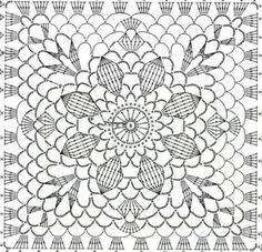 Transcendent Crochet a Solid Granny Square Ideas. Inconceivable Crochet a Solid Granny Square Ideas. Crochet Skirt Pattern, Crochet Doily Diagram, Crochet Motif Patterns, Crochet Chart, Filet Crochet, Crochet Doilies, Motifs Granny Square, Granny Square Crochet Pattern, Crochet Squares