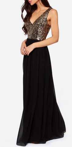 Maximum Shine Black and Gold Sequin Maxi Dress