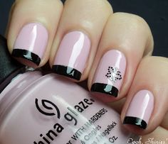 Pink & black french mani