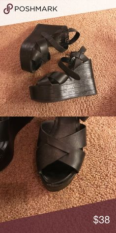 ALDO Chunky Wedges These super chunky Wedges add height but are so comfy! Only worn one time. There's a little scuff in the front that's covered by your toes when worn. Otherwise, like new. Aldo Shoes