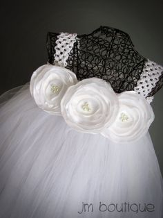 White Tutu Dress with Handmade Flowers for Flower by JMBoutique1, $69.99