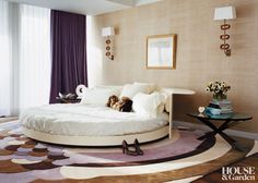 A round bed by Ron Arad for Cappellini and a rabbit bedspread set the tone in the master bedroom of a Manhattan apartment.