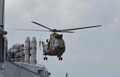 French Forces Gabon (FFG) Puma over the French Marine Nationale anti-submarine frigate (MDTF) Latouche-Treville.