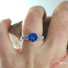 Blue Sapphire Filigree Milgrain Solitaire Engagement ring 2ct 8mm 14k Gold white-yellow-rose-Custom made size-Wedding-Anniversary-Layaway