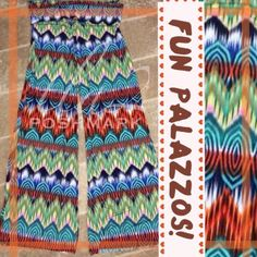 """COLORFUL PALAZZOS! Pretty, mini chevron print design, 6 inch roll waist and classic wide leg palazzo style. Very flattering on any body type. Polyester and spandex, great for travel. NWOT 35"""" inseam but these are the """"no hem"""" pants you just cut off to desired length tla2 Pants"""