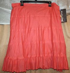 Woman's Size XL Flared Skirt Lined Orange Elastic Waist by Studio West NEW | #eBay