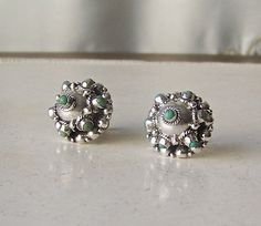 Vintage Turquoise Sterling Silver Earrings Native by cynthiasattic