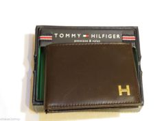 Tommy Hilfiger passcase billfold wallet brown leather Men's 0091-4895/02 ID TH