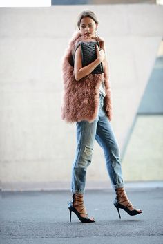 I have a faux fur chubby I have been DYING to wear, but it hasn't been cold enough in Cali. When it is, I will call upon this look for inspiration. So simple, but so fantastic.