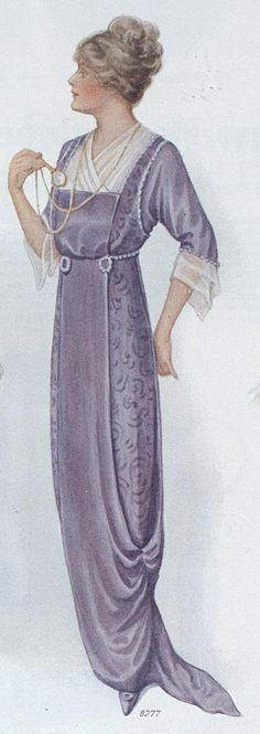 Lavender Evening Dress with Panel Front and Sweeping Skirt, Ladies Home Journal  (April, 1914)