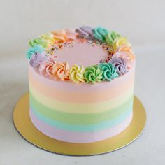 A rainbow cake is fun to look at and eat and a lot easier to make than you might think. Here's a step-by-step guide for how to make a rainbow birthday cake. Pastel Cakes, Colorful Cakes, Pretty Cakes, Cute Cakes, Sweet Cakes, Bolos Tie Dye, Mini Cakes, Cupcake Cakes, Macaron Cake