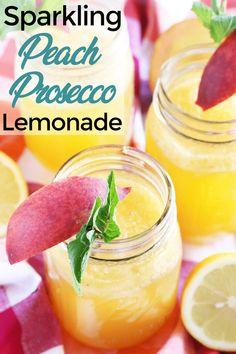 Sparkling Peach Vodka Lemonade makes the most of the peach season so you can savor the flavor all summer. Just the right balance of sweet and tart! Vanilla Vodka Drinks, Vodka Lemonade, Peach Lemonade, Vodka Recipes, Alcohol Drink Recipes, Punch Recipes, Fruity Mixed Drinks, Prosecco Cocktails, Cocktail Drinks