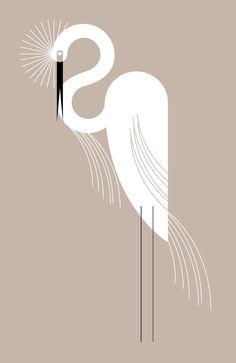 GreenBox Art 'Wild Egret' by Eleanor Grosch Graphic Art on Wrapped Canvas Size: Art Deco Illustration, Art Illustrations, Digital Illustration, Graphisches Design, Art Deco Design, Art Nouveau, Motif Art Deco, Art Deco Print, Art Deco Stil