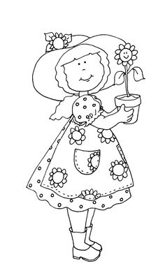Free Dearie Dolls Digi Stamps: Sunflower Girl