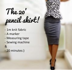 Knit Pencil Skirt Here is a fabulous and smart pencil skirt. An easy and quick sewing tutorial, a great one even for anyone who is starting to learn to sew. Get the free sewing tutorial for this Knit