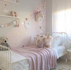 Gold polka dot decals spot decal home decor by rockymountaindecals girls pink bedroom ideas, pink Polka Dot Walls, Polka Dot Room, Unicorn Bedroom, Little Girl Rooms, Girl Kids Room, Ikea Girls Room, Teenage Girl Room Decor, Kids Room Bed, Kids Rooms