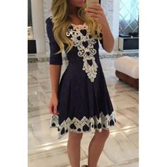 Women's Stylish 1/2 Sleeve Lace Splicing Round Neck A-Line Dress (Purplish Blue,M) in Casual Dresses | DressLily.com