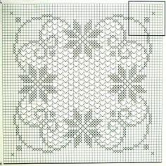 Crochet and arts: Large square tablecloth crocheted Crochet Motif Patterns, Crochet Blocks, Crochet Squares, Crochet Designs, Cross Stitch Patterns, Filet Crochet, Crochet Chart, Crochet Stitches, Crochet Table Runner