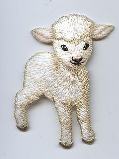 "Iron-On embroidery Applique Baby lamb : - White lamb - Measures 1-7/8"" x 2-3/4"" or 4.7cm x 6.9cm"