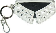 KARL--綴方釘襯衫領皮質鑰匙圈