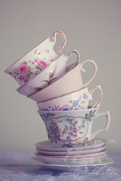 Fine Art Photograph, Stacked Floral Teacups, Pastel, Whimsical, Pink, Still Life, Cafe Art, Wonderland, Kitchen Art, Teacup Photo, Print