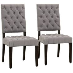 James Ash Linen and Solid Oak Wood Dining Chair Set of 2 - Style # 9F039