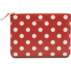 Comme des Garçons Polka Dots zip clutch (€145) ❤ liked on Polyvore featuring bags, handbags, clutches, red polka dot purse, leather handbags, red leather purse, zipper handbag and genuine leather purse