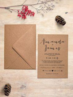 Simply Charm Eco Kraft Wedding Invitation  Eco by PaperCharmStore