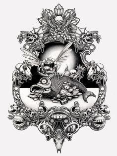 Intricate Drawings by Joe Fenton Put Strange Twists on Religious Iconography   Hi-Fructose Magazine