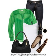 """Green & Leopard"" by steffiestaffie on Polyvore"