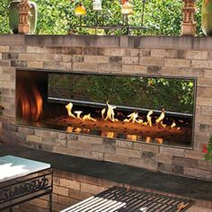 White Mountain Hearth By Empire Carol Rose Vent Free Propane Gas Outdoor Linear See-Through Fireplace W/ Manual Electronic Ignition & LED Light System - : Ultimate Patio Outdoor Gas Fireplace, Linear Fireplace, Outdoor Fireplace Designs, Backyard Fireplace, Outside Fireplace, Fireplace Ideas, Electric Fireplace, Backyard Patio Designs, Backyard Landscaping