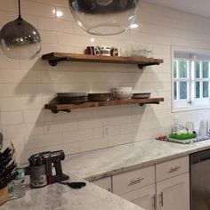 ONE Extra Long Deep Rustic Industrial Floating Shelves, TWO Iron pipe brackets, Wall shelves, Kitchen storage, Rustic wood shelves Industrial Floating Shelves, White Floating Shelves, Rustic Shelves, Wood Shelves, Rustic Industrial, Rustic Wood, Rustic Modern, Industrial Shelving Kitchen, Long Wall Shelves