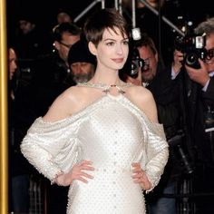 Anne Hathaway at the world premiere of Les Miserables in London, England in a dress by Givenchy.