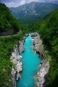 The Soca river in Slovenia, where the river god scene in Narnia: Prince Caspian was filmed.