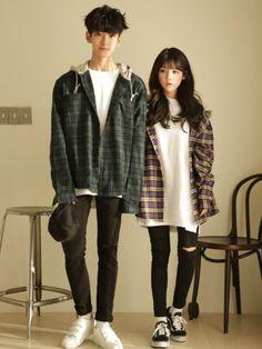 Official Korean Fashion : Korean Couple Fashion - Fashion Show Korean Couple Fashion, Korean Fashion Trends, Korean Street Fashion, Korea Fashion, Asian Fashion, Teen Fashion, Fashion Outfits, Fashion Ideas, Fashion Black