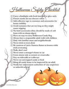 Print out this Halloween safety checklist for all of your trick-oe-treaters.  |  Swa-Rai