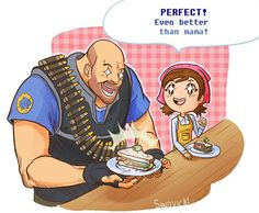 Team Fortress 2 / Cooking Mama --> I didn't know I needed this crossover